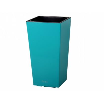 Obal na květník ELISE plast modrý matný 20x20x36cm