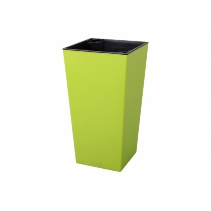 Obal na květník ELISE plast zelený matný 15x15x26cm