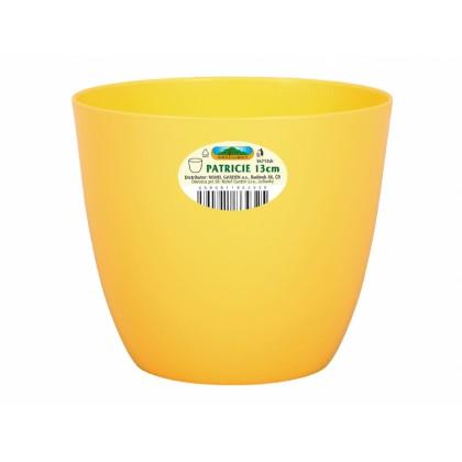 Obal na květník PATRICIE plastový žlutý d18x16cm