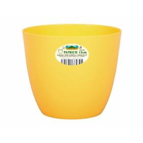 Obal na květník PATRICIE plastový žlutý d25x22cm