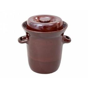 Zelák MORAVA s víkem keramický hnědý 25l