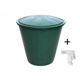 Barel s ventilem a víkem plastový zelený 210l