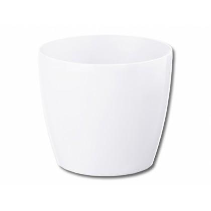 Obal na květník MAGNOLIA plastový bílý lesklý d36x32cm