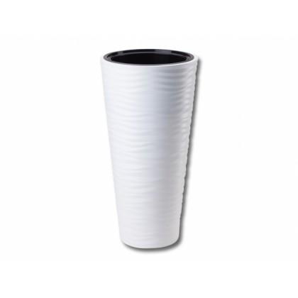 Obal na květník SAHARA SLIM plastový bílý d30x56cm