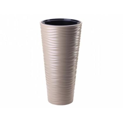 Obal na květník SAHARA SLIM plastový hnědo šedý d30x56cm
