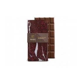 Mléčná čokoláda s drcenými lyofilizovanými malinami a ostružinami (85g) - Janek