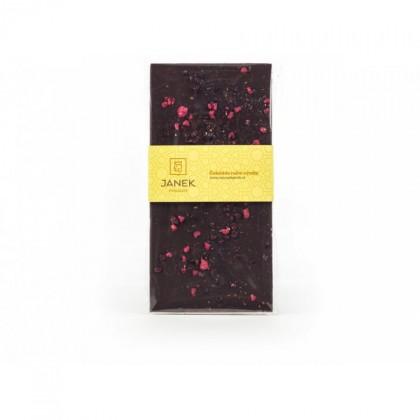 Hořká čokoláda s drcenými lyofilizovanými malinami a ostružinami (85g) - Janek