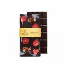 Hořká čokoláda s pekanovými ořechy a lyofilizovanými jahodami (95g) - Janek