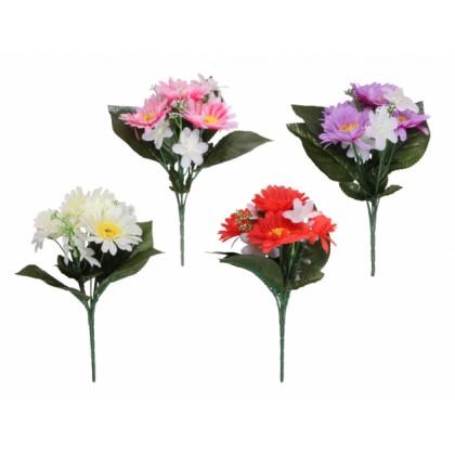 Květina GERBERA S LILIÍ KVĚT X7 4+3květy mix 23cm