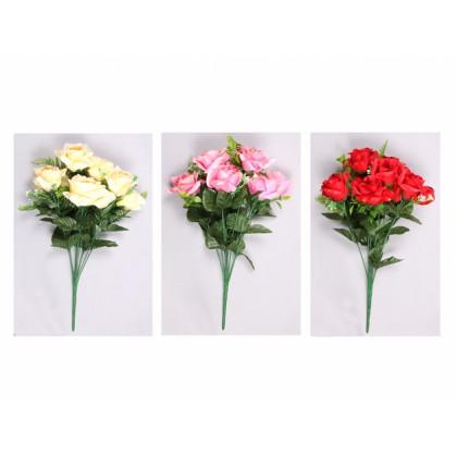 Květina RŮŽE 9květů 43cm