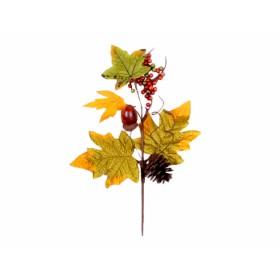 Větvička ŽALUD - PODZIM se šiškou hnědo-zelený 28cm