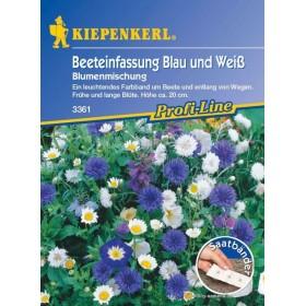 Květiny na olemování záhonů modré a bílé - výsevný pásek